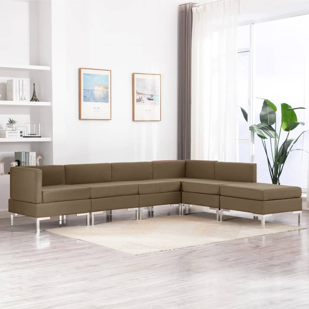 vidaXL Set canapea, 6 piese, maro, material textil imagine vidaxl.ro
