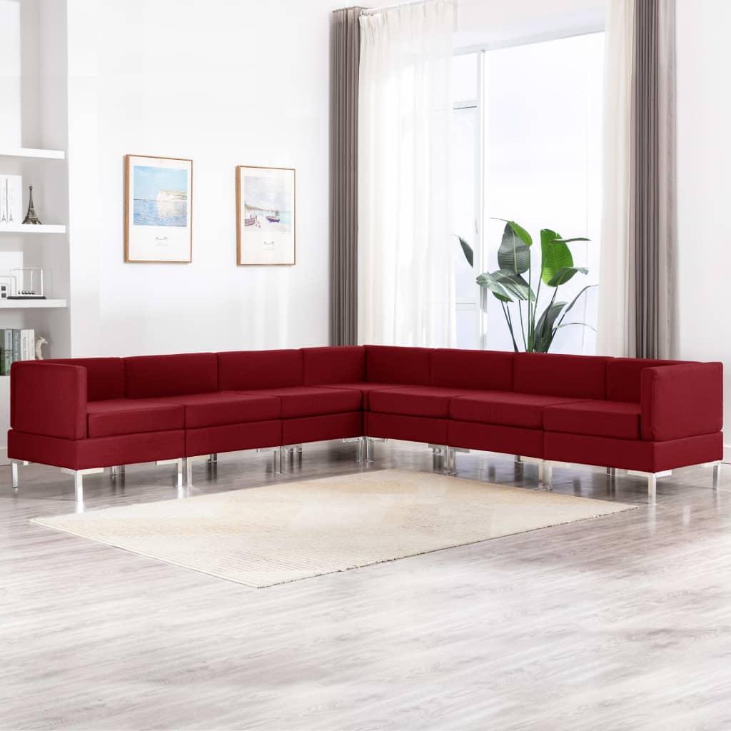 vidaXL Set de canapele, 7 piese, roșu vin, material textil poza 2021 vidaXL