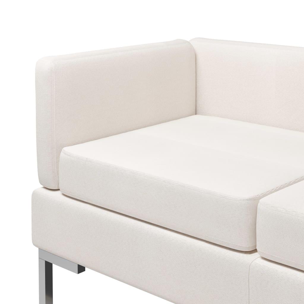vidaXL 7-delig Bankstel stof crème