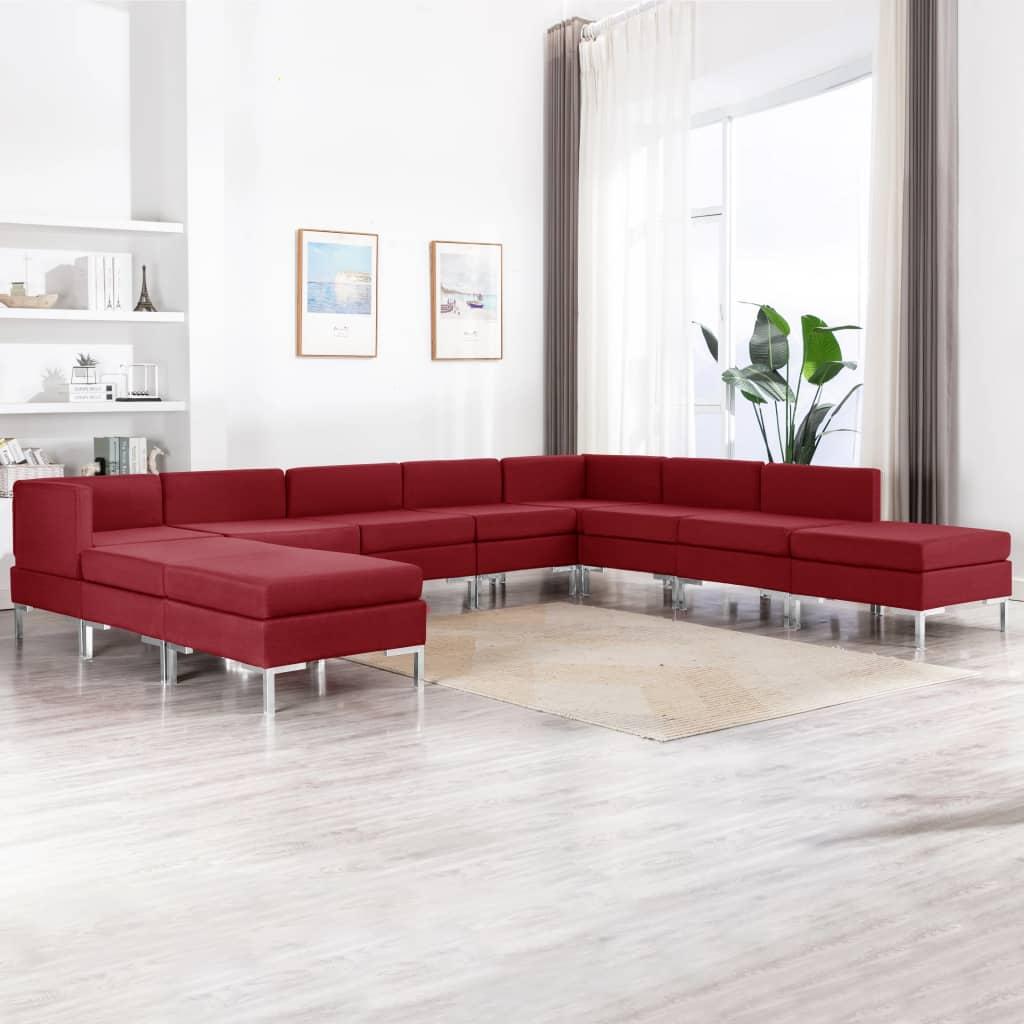 vidaXL Set de canapele, 10 piese, roșu vin, material textil imagine vidaxl.ro
