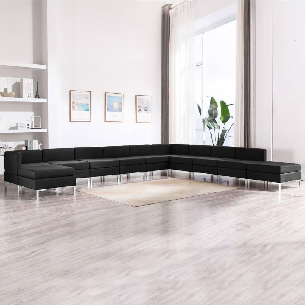 vidaXL Set de canapele, 11 piese, negru, material textil poza vidaxl.ro