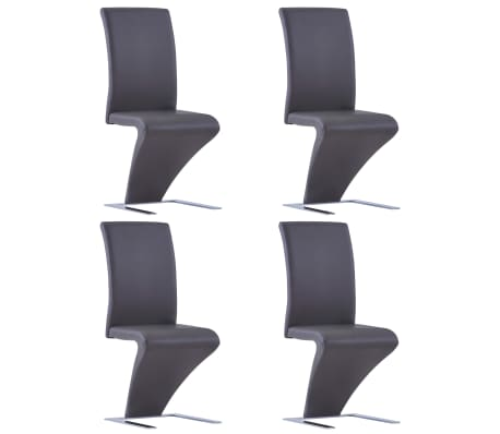 vidaXL Dining Chairs with Zigzag Shape 4 pcs Grey Faux Leather