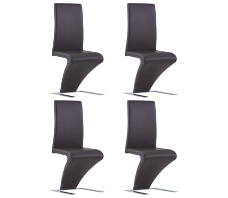 vidaXL Dining Chairs with Zigzag Shape 4 pcs Brown Faux Leather