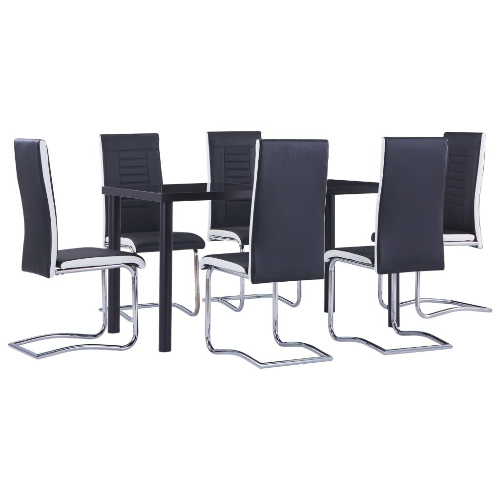 vidaXL Set mobilier de bucătărie, 7 piese, negru, piele ecologică imagine vidaxl.ro