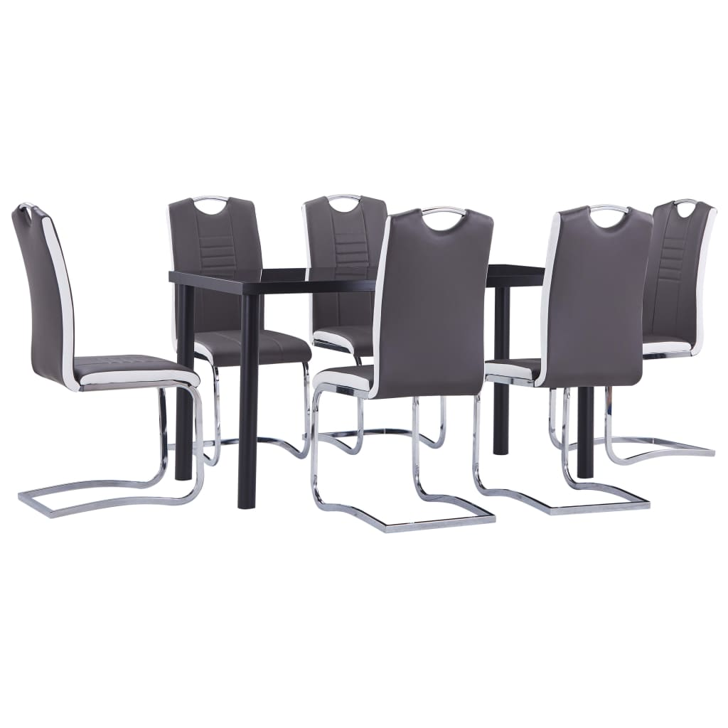 vidaXL Set mobilier de bucătărie, 7 piese, gri, piele ecologică vidaxl.ro
