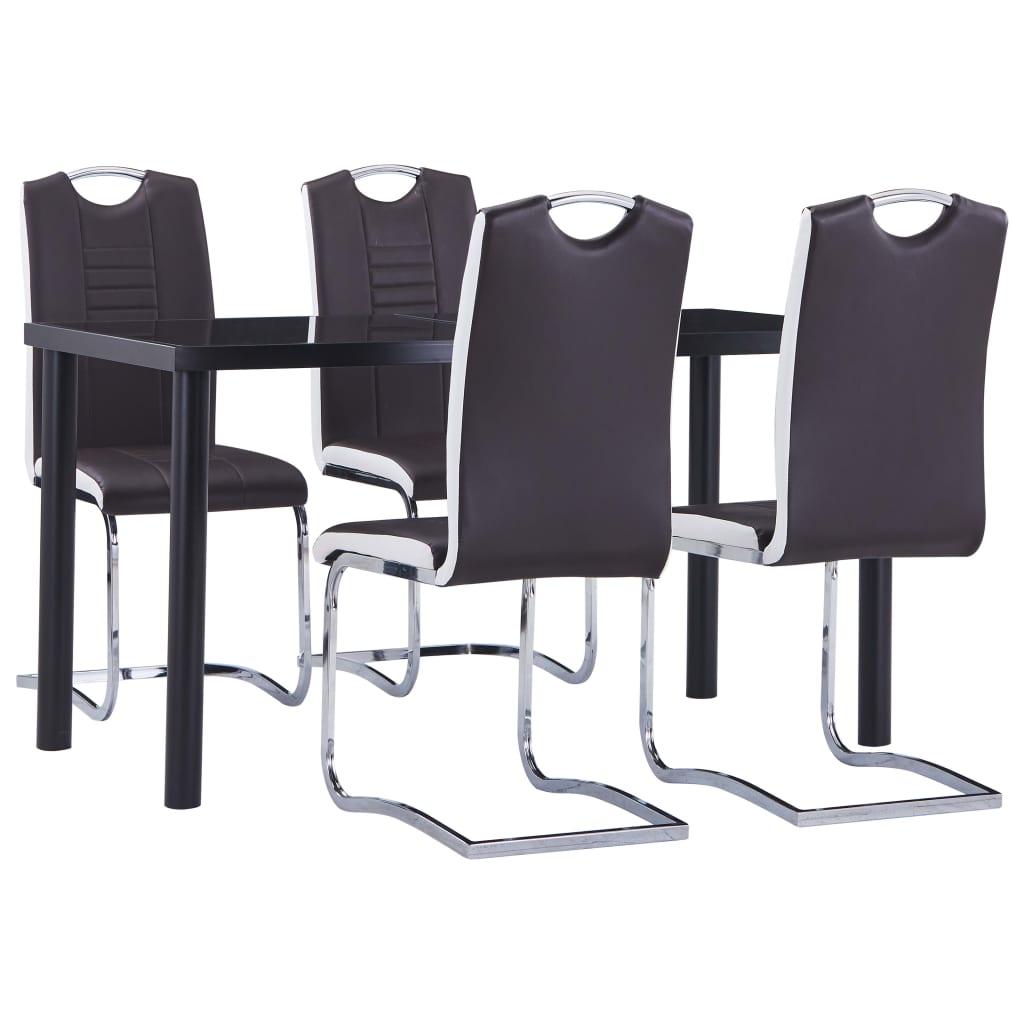vidaXL Set mobilier de bucătărie, 5 piese, maro, piele ecologică poza 2021 vidaXL