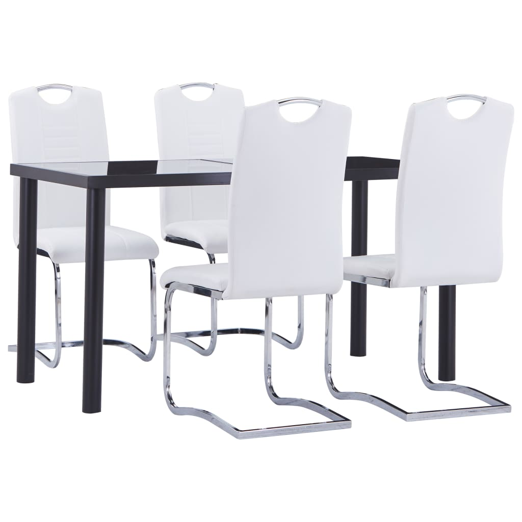 vidaXL Set mobilier de bucătărie, 5 piese, alb, piele ecologică poza 2021 vidaXL