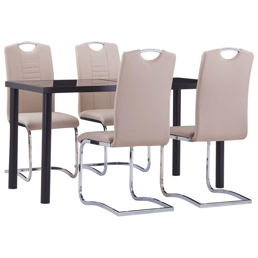 vidaXL Set mobilier de bucătărie, 5 piese, cappuccino, piele ecologică poza 2021 vidaXL