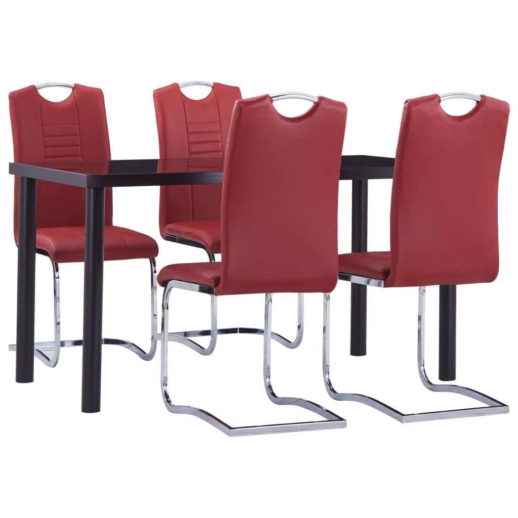 vidaXL Set mobilier de bucătărie, 5 piese, roșu, piele ecologică poza vidaxl.ro