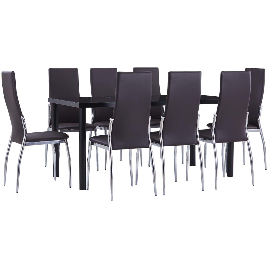 vidaXL Set mobilier de bucătărie, 9 piese, maro, piele ecologică poza 2021 vidaXL