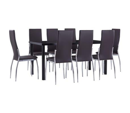 vidaXL Set mobilier de bucătărie, 9 piese, maro, piele ecologică