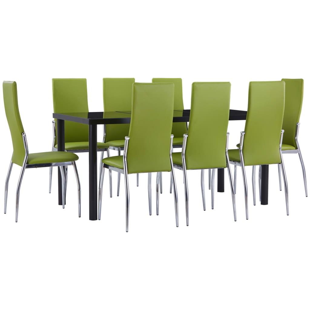 vidaXL Set mobilier de bucătărie, 9 piese, verde, piele ecologică vidaxl.ro