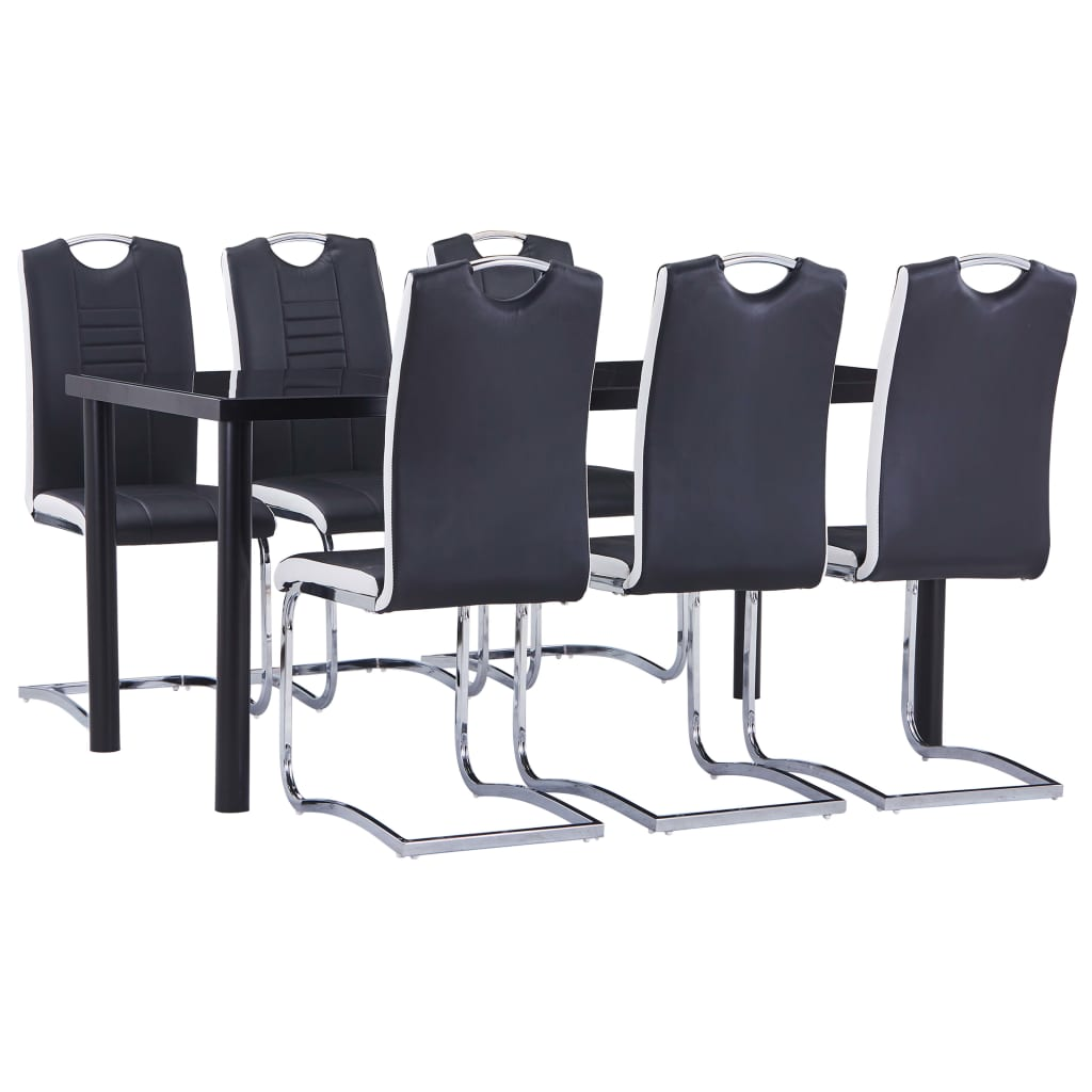 vidaXL 7-dijelni blagovaonski set od umjetne kože crni
