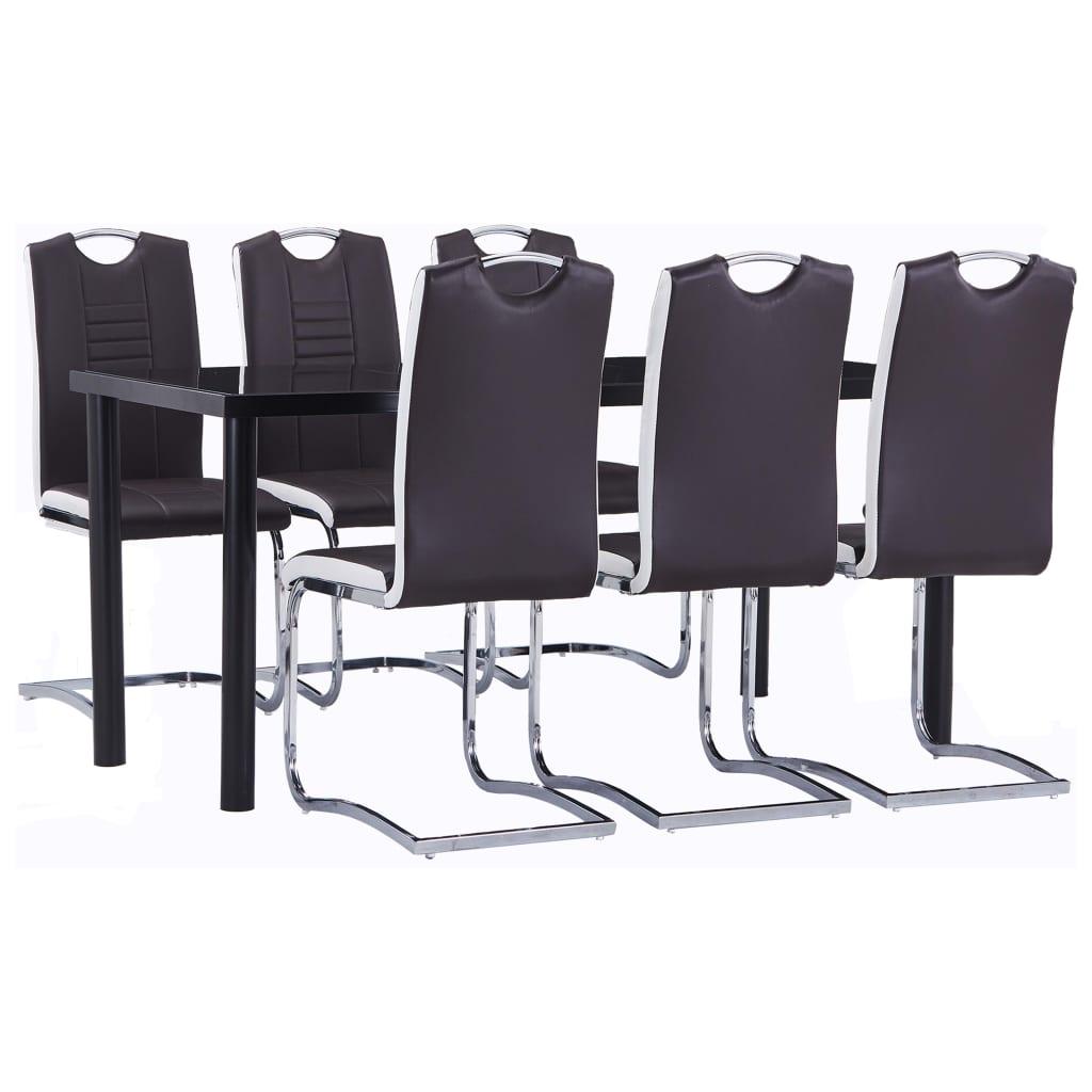 vidaXL Set mobilier de bucătărie, 7 piese, maro, piele ecologică vidaxl.ro