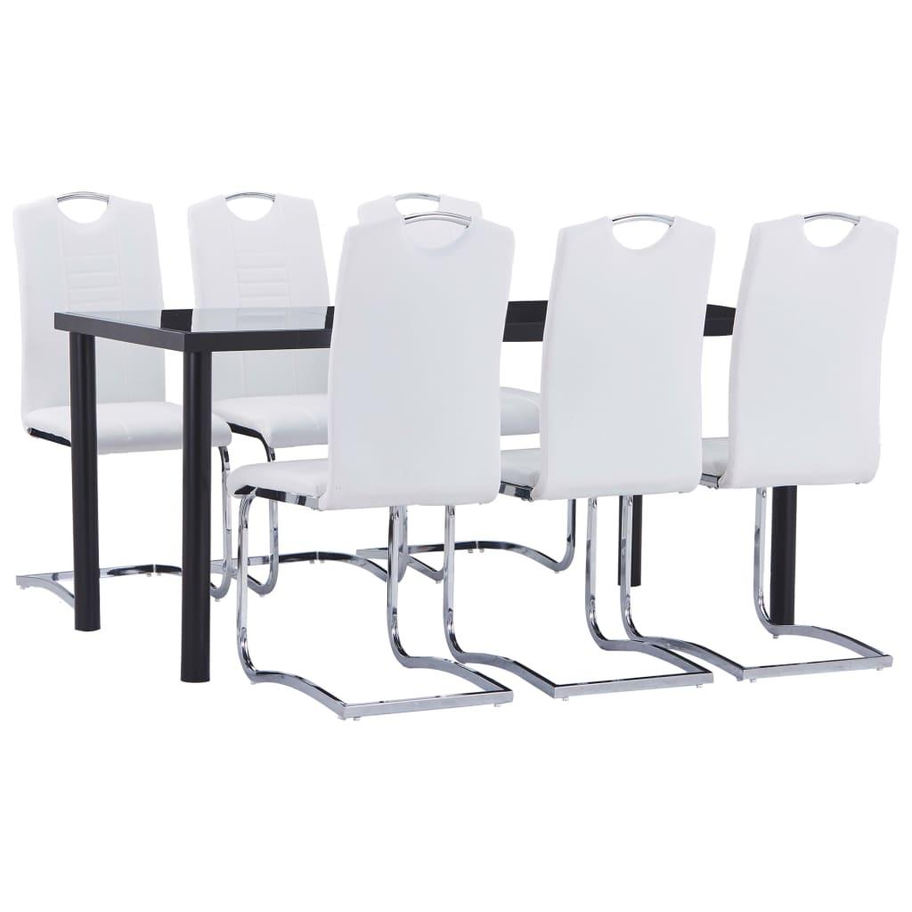 vidaXL Set mobilier de bucătărie, 7 piese, alb, piele ecologică vidaxl.ro