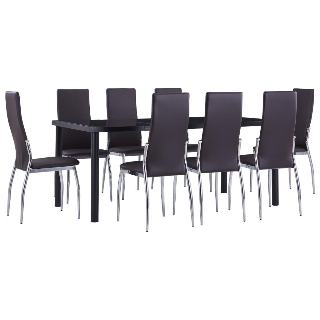 vidaXL Set mobilier de bucătărie, 9 piese, maro, piele ecologică poza vidaxl.ro