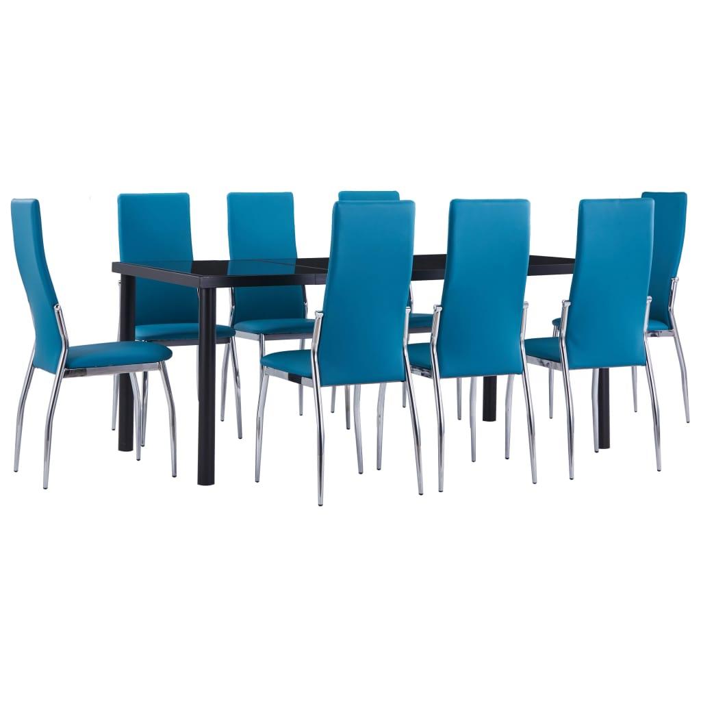 vidaXL Set mobilier de bucătărie, 9 piese, albastru, piele ecologică vidaxl.ro