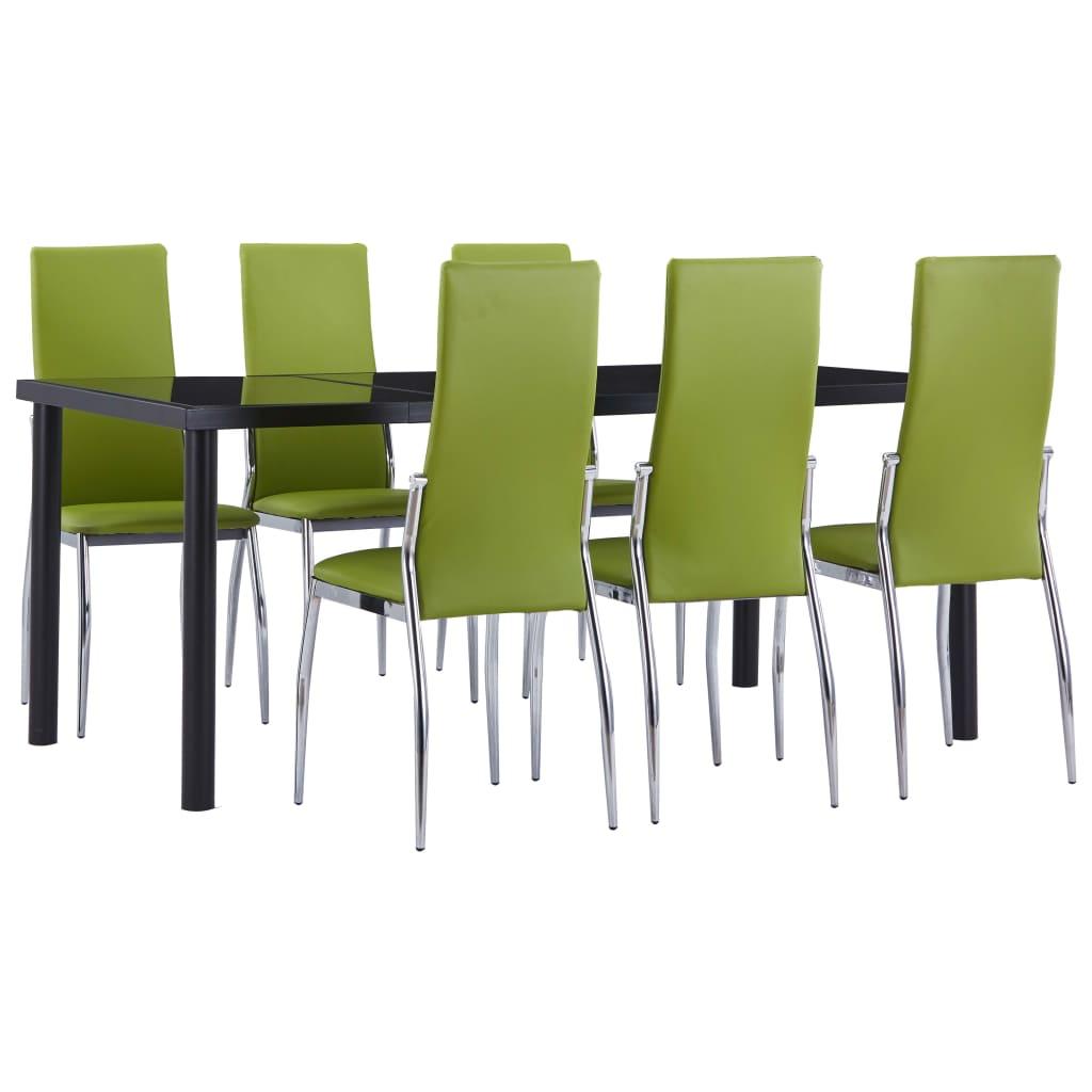 vidaXL Set mobilier de bucătărie, 7 piese, verde, piele ecologică poza vidaxl.ro