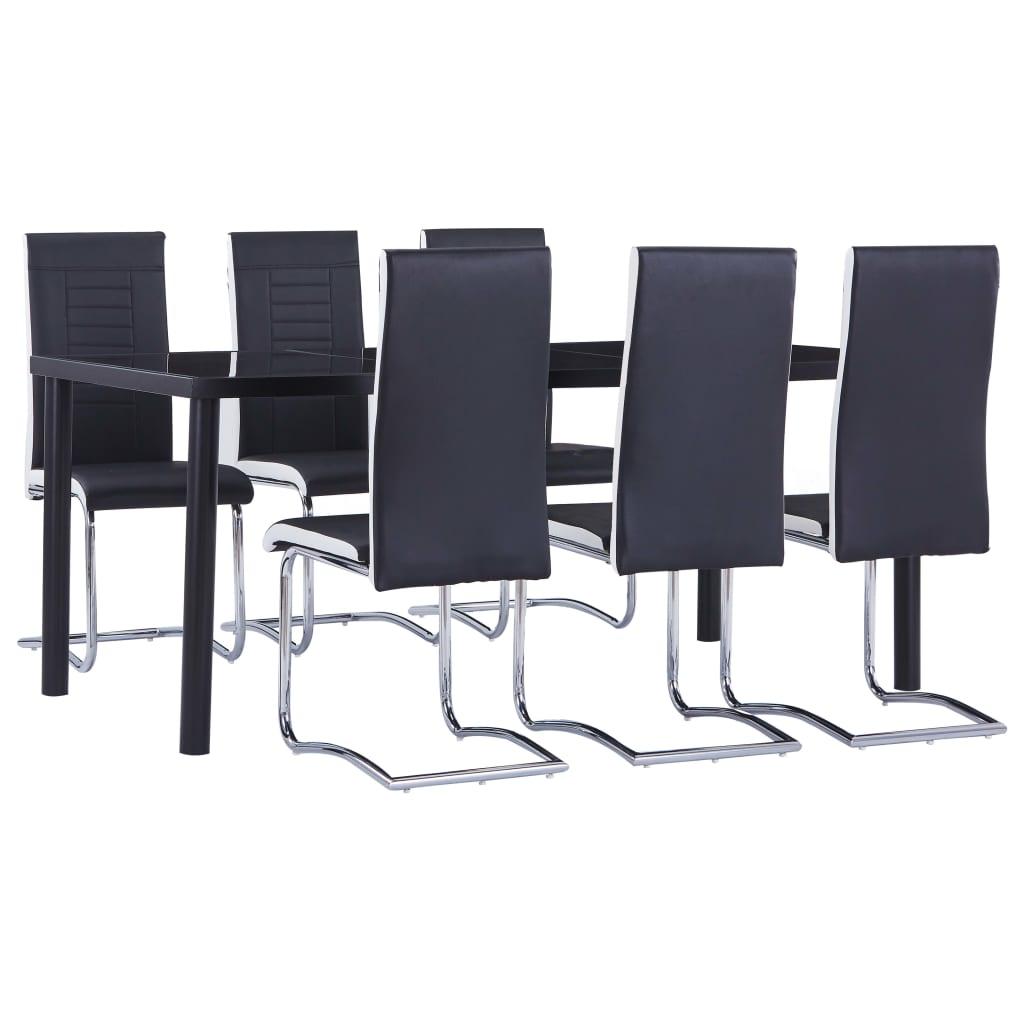 vidaXL Set mobilier de bucătărie, 7 piese, negru, piele ecologică vidaxl.ro
