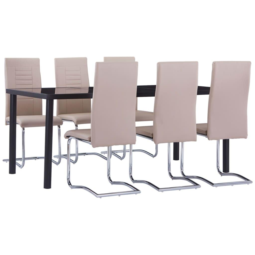 vidaXL Set mobilier de bucătărie, 7 piese, cappuccino, piele ecologică imagine vidaxl.ro
