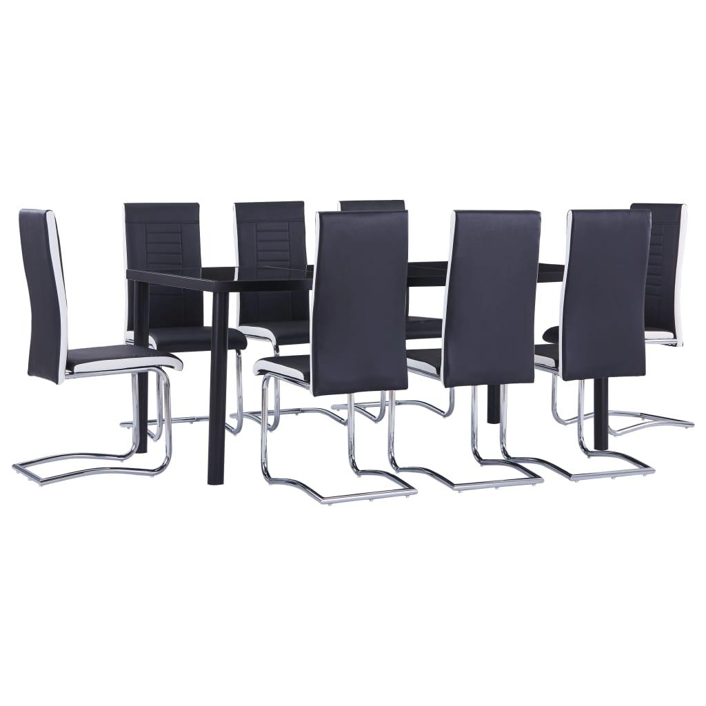 vidaXL Set de mobilier de bucătărie, 9 piese, negru, piele ecologică poza vidaxl.ro