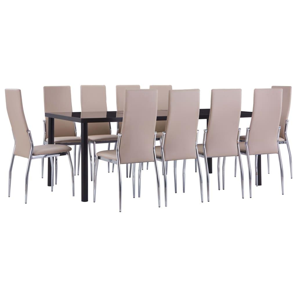 vidaXL Set mobilier de bucătărie 11 piese cappuccino piele ecologică poza vidaxl.ro