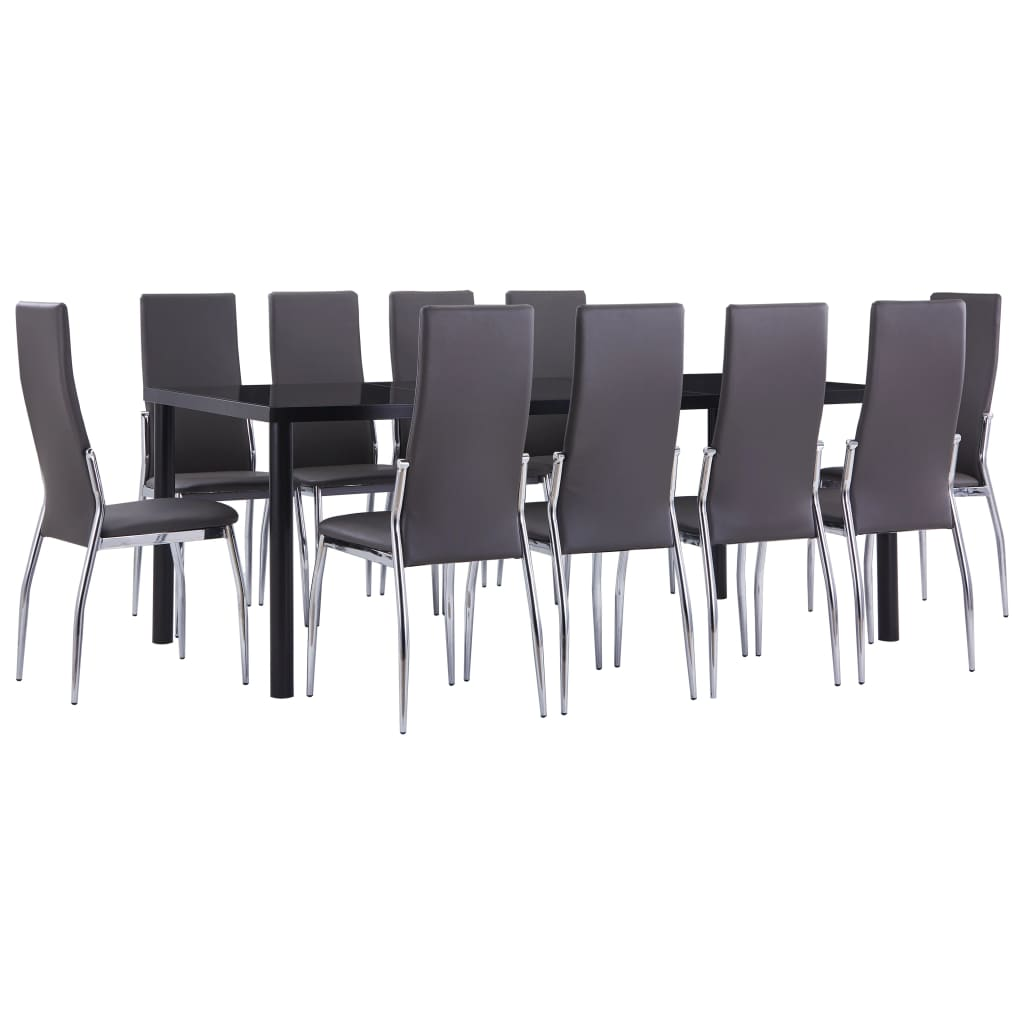 vidaXL Set mobilier de bucătărie, 11 piese, gri, piele ecologică imagine vidaxl.ro
