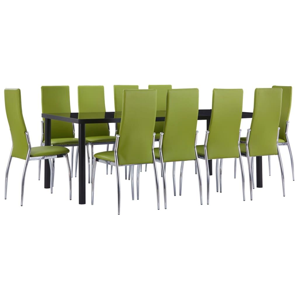 vidaXL Set mobilier de bucătărie, 11 piese, verde, piele ecologică vidaxl.ro