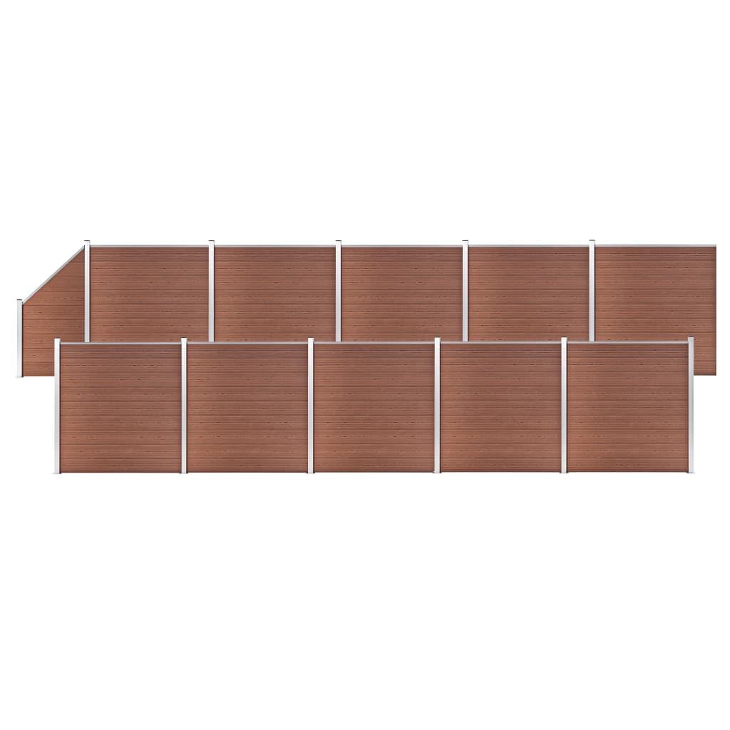 vidaXL Schuttingset 10 vierkant en 1 schuin 1830x186 cm HKC bruin