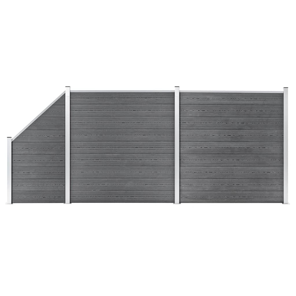 vidaXL Set panouri gard, 2 pătrate + 1 oblic, gri, 446 x 186 cm, WPC vidaxl.ro