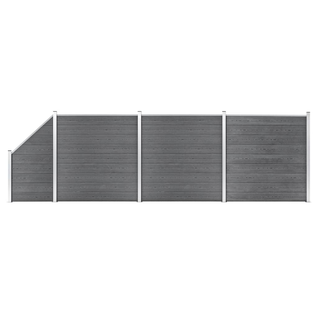 vidaXL Set ograda pd WPC-a 3 kvadratne + 1 kosa 619 x 186 cm sivi