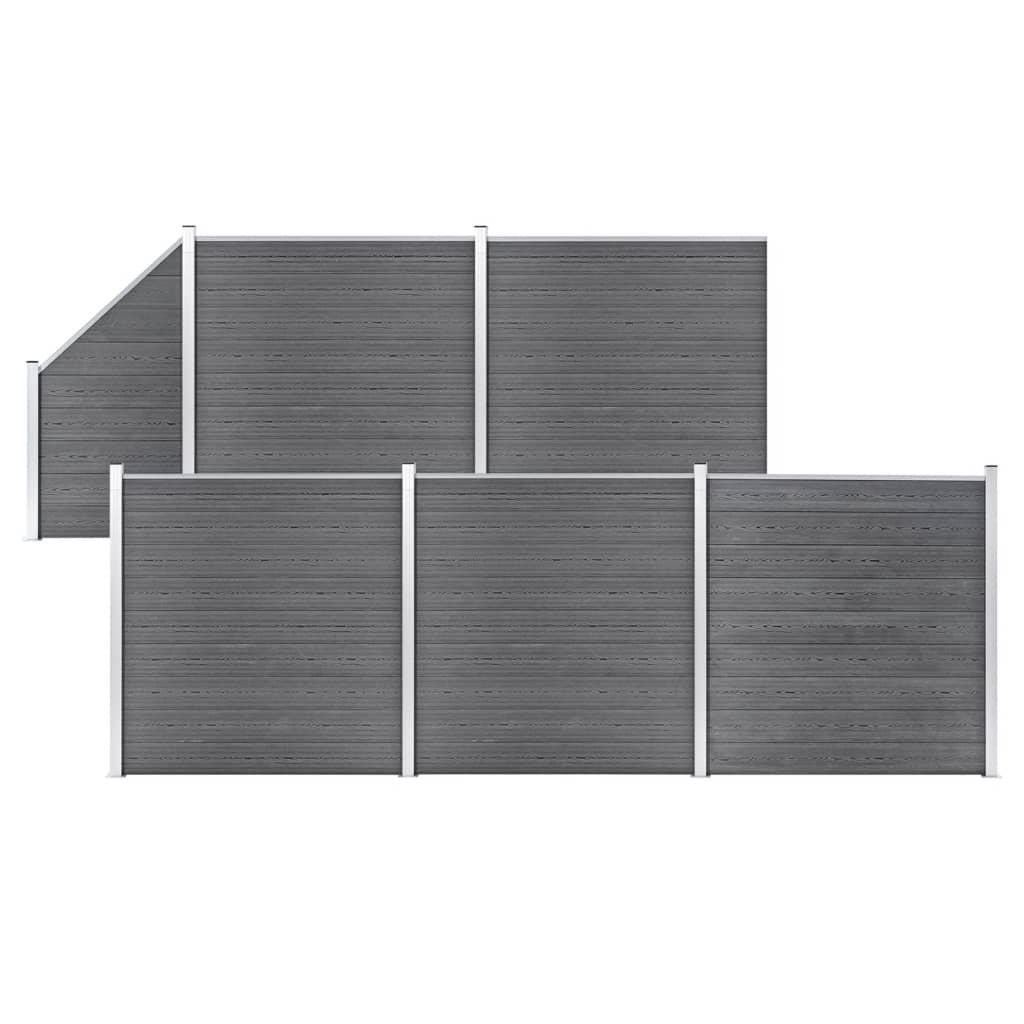 vidaXL Set WPC ograda 5 kvadratnih + 1 kosa 965 x 186 cm sivi