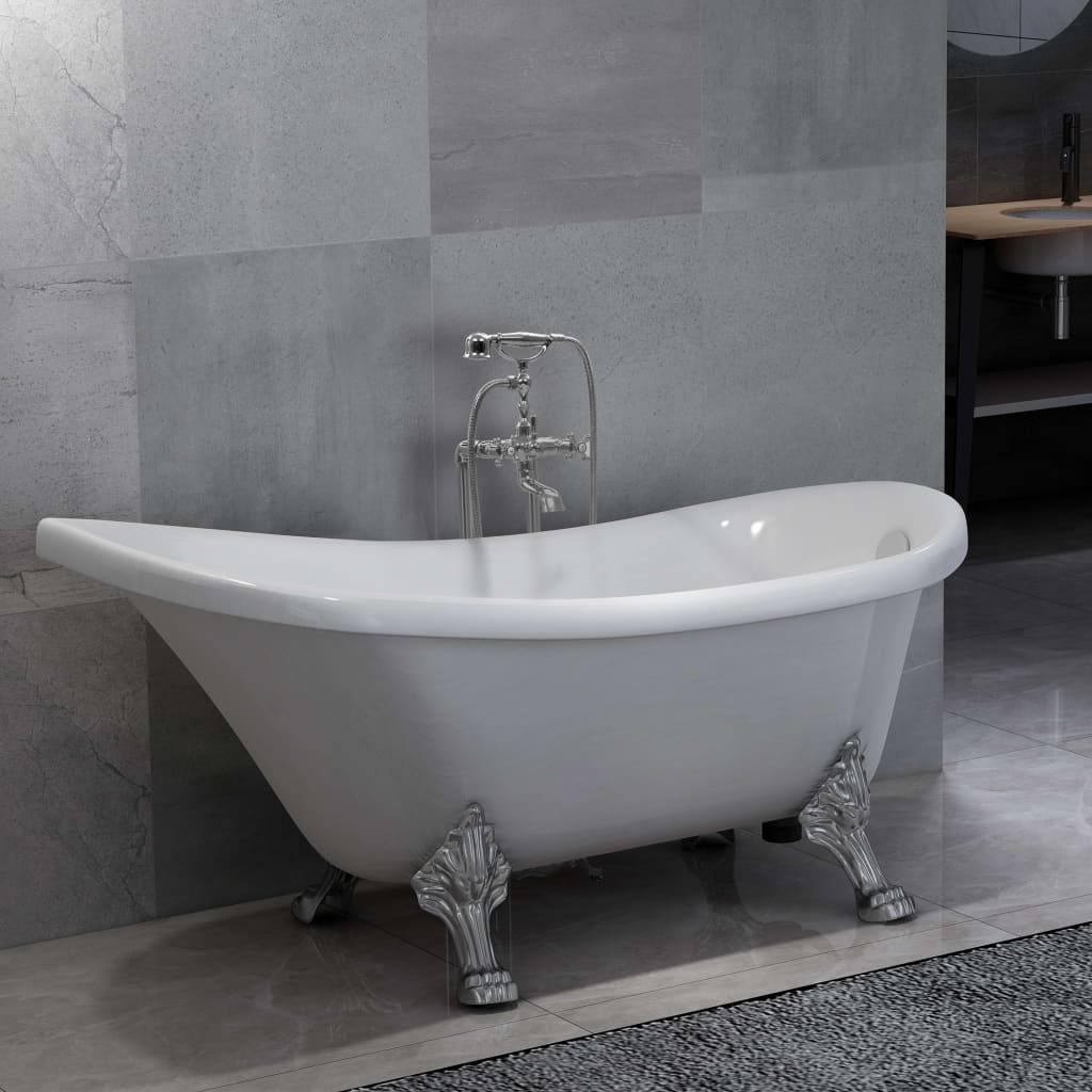 Volně stojící vana s baterií 204 l 99,5 cm stříbrná