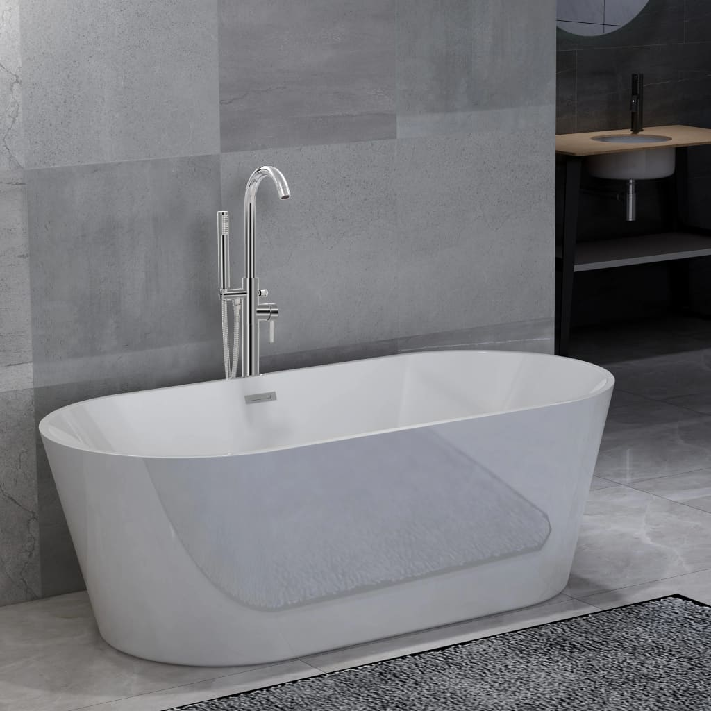 Volně stojící vana s baterií 220 l 118,5 cm stříbrná