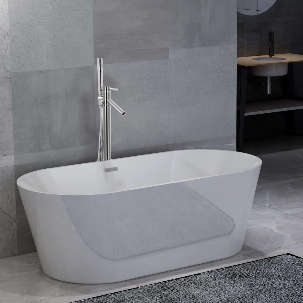 Volně stojící vana s baterií 220 l 110 cm stříbrná