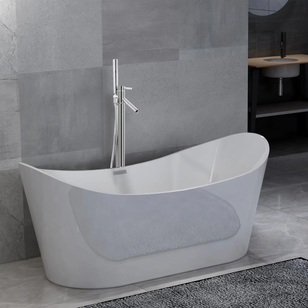 Volně stojící vana s baterií 204 l 110 cm stříbrná