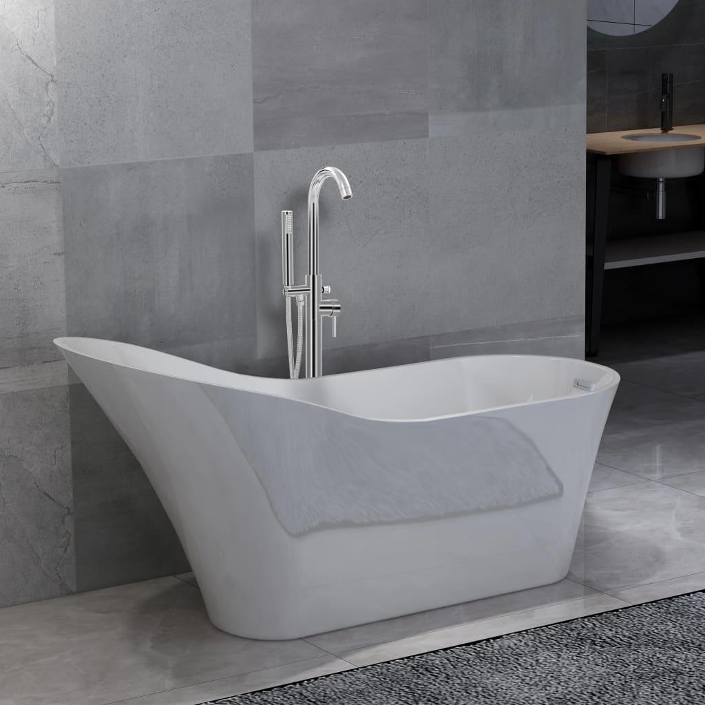 Volně stojící vana s baterií 210 l 118,5 cm stříbrná