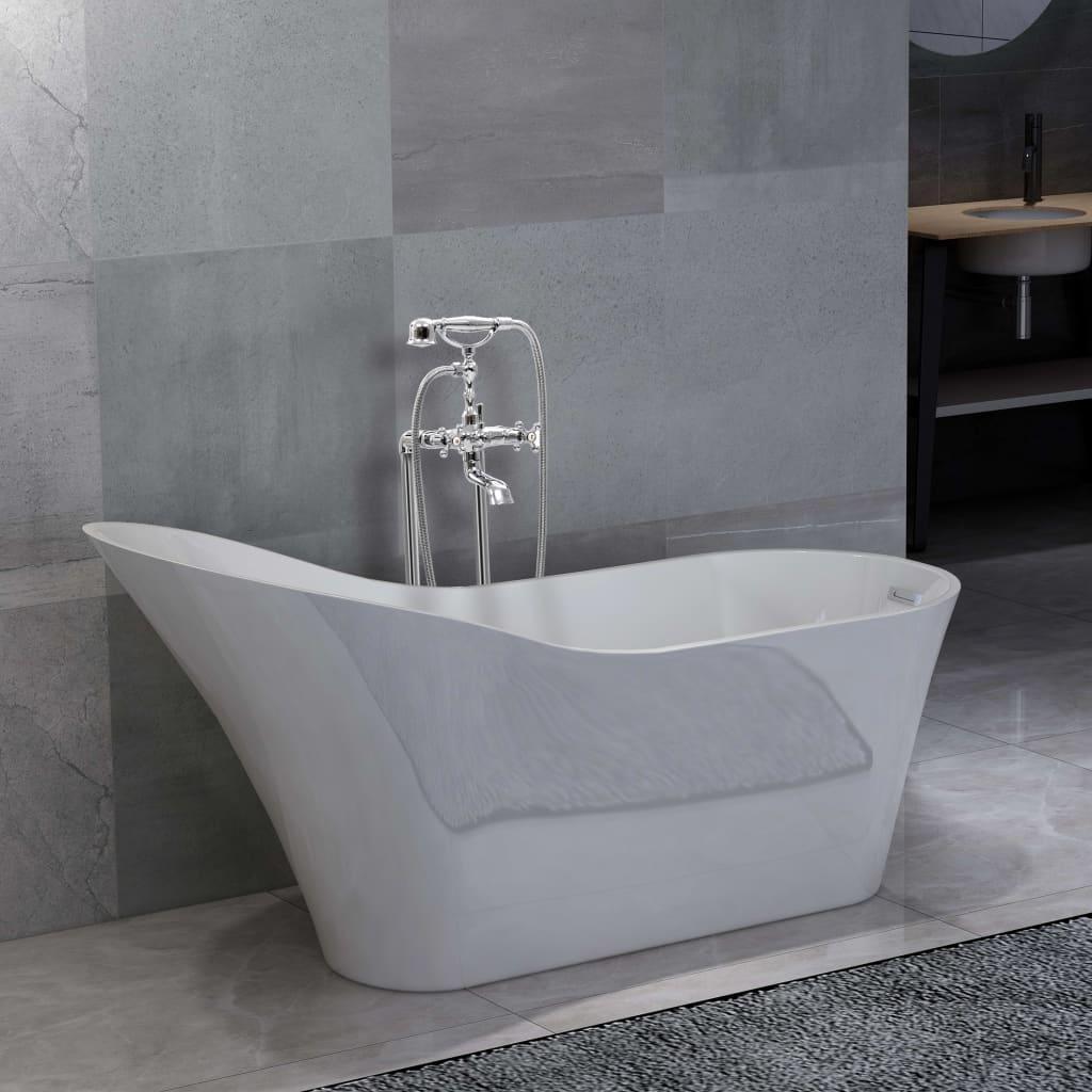 Volně stojící vana s baterií 210 l 99,5 cm stříbrná