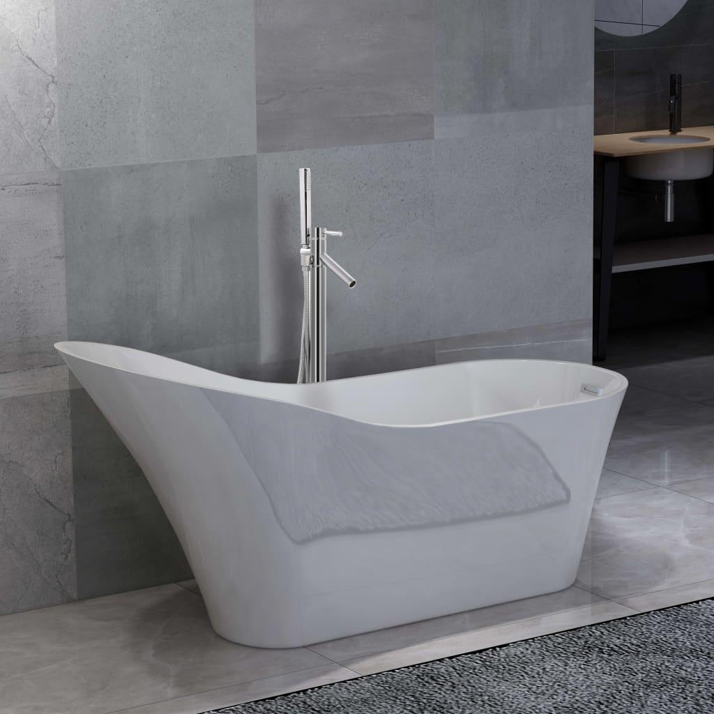Volně stojící vana s baterií 210 l 110 cm stříbrná