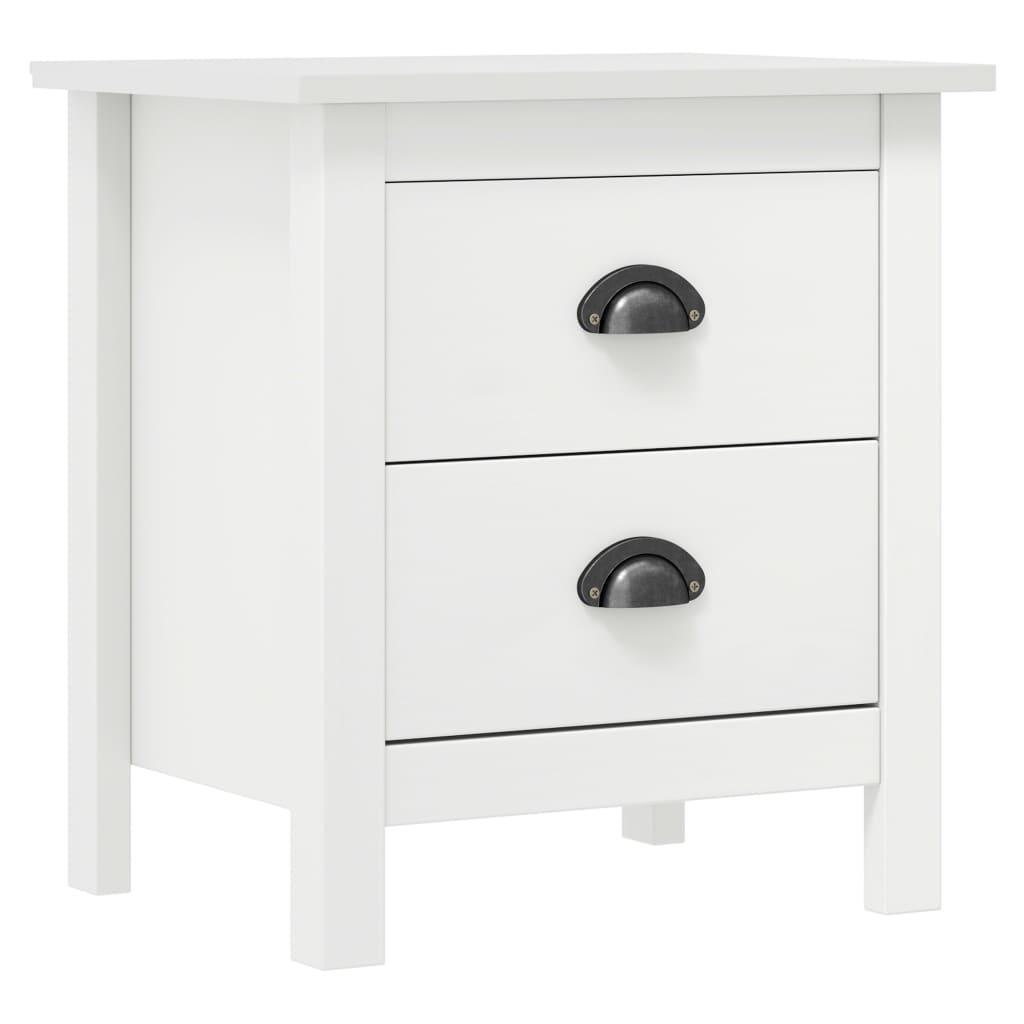vidaXL Noptieră Hill Range, alb, 46x35x49,5 cm, lemn masiv de pin poza vidaxl.ro