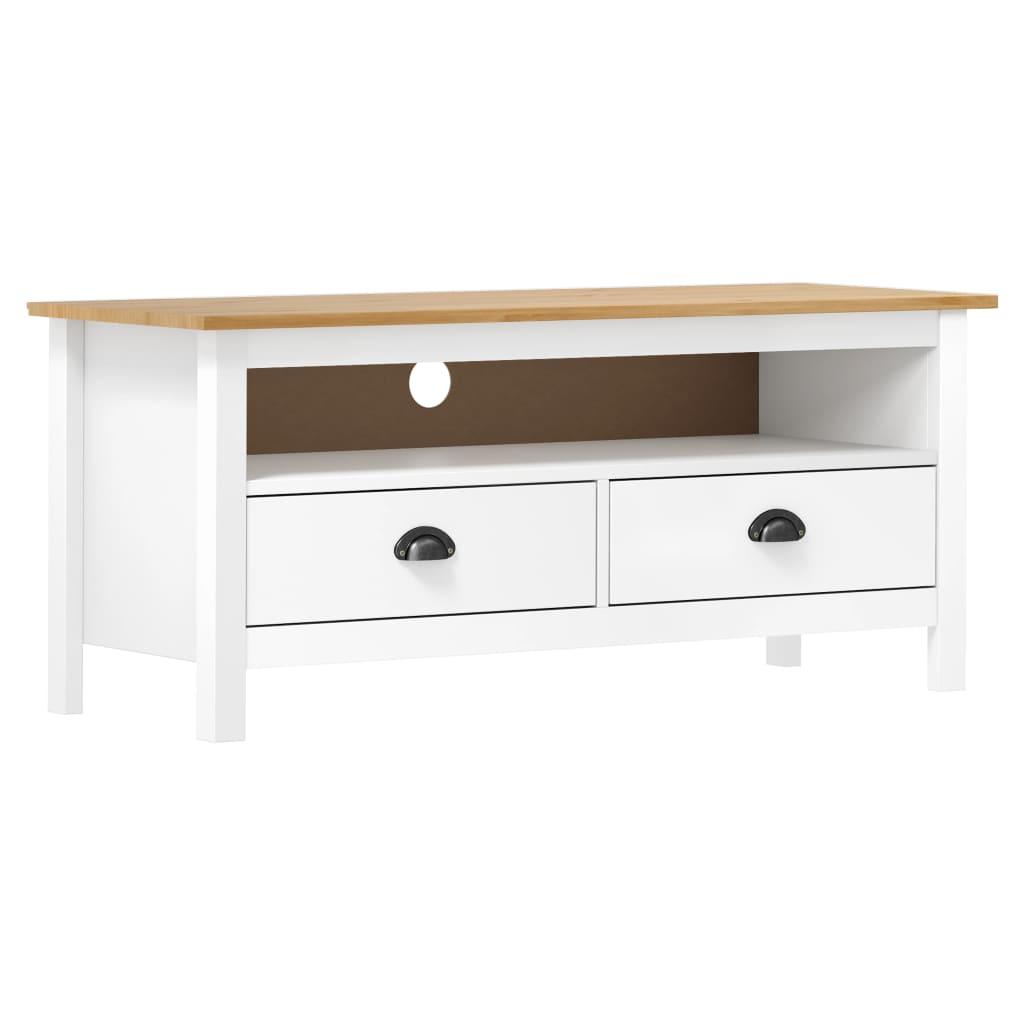 vidaXL Comodă TV Hill Range, alb, 110x40x47 cm, lemn masiv de pin vidaxl.ro