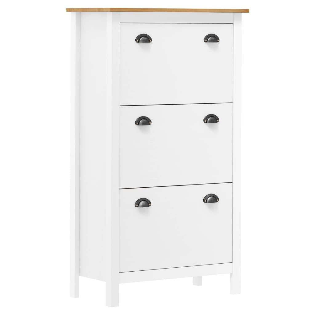 vidaXL Pantofar Hill Range, alb, 72x35x124 cm, lemn masiv de pin vidaxl.ro