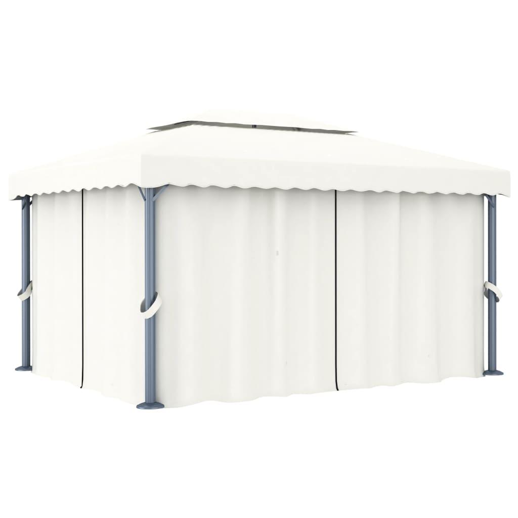 vidaXL Pavilion cu perdea, alb crem, 4 x 3 m, aluminiu vidaxl.ro