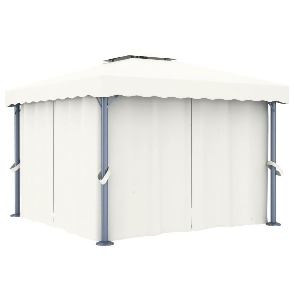 vidaXL Pavilion cu perdea, alb crem, 3 x 3 m, aluminiu imagine vidaxl.ro