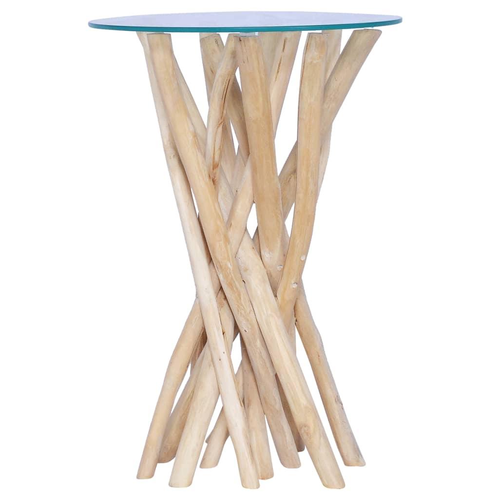 vidaXL Măsuță de cafea cu blat sticlă, 35x35x50 cm, lemn masiv de tec poza vidaxl.ro