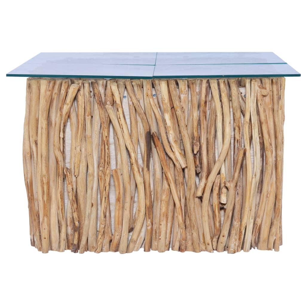 Salontafel met glazen blad 66x66x40 cm massief teakhout