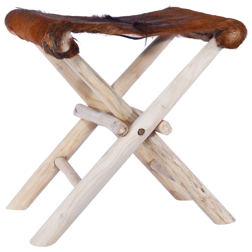 vidaXL Taburet pliant, piele naturală și lemn masiv de tec poza vidaxl.ro