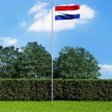 vidaXL Nederlandsk flagg og stang aluminium 6,2 m