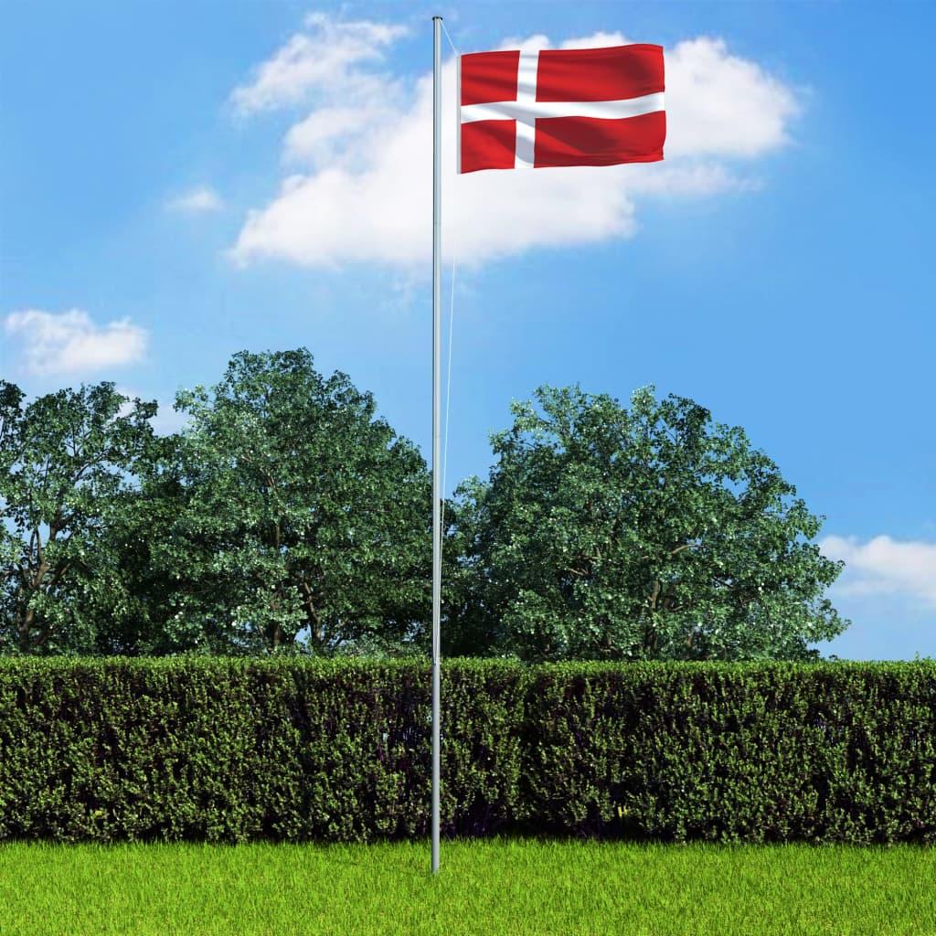 vidaXL Dánská vlajka a stožár hliník 6,2 m