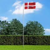 vidaXL Danmarks flagga och flaggstång i aluminium 6,2 m